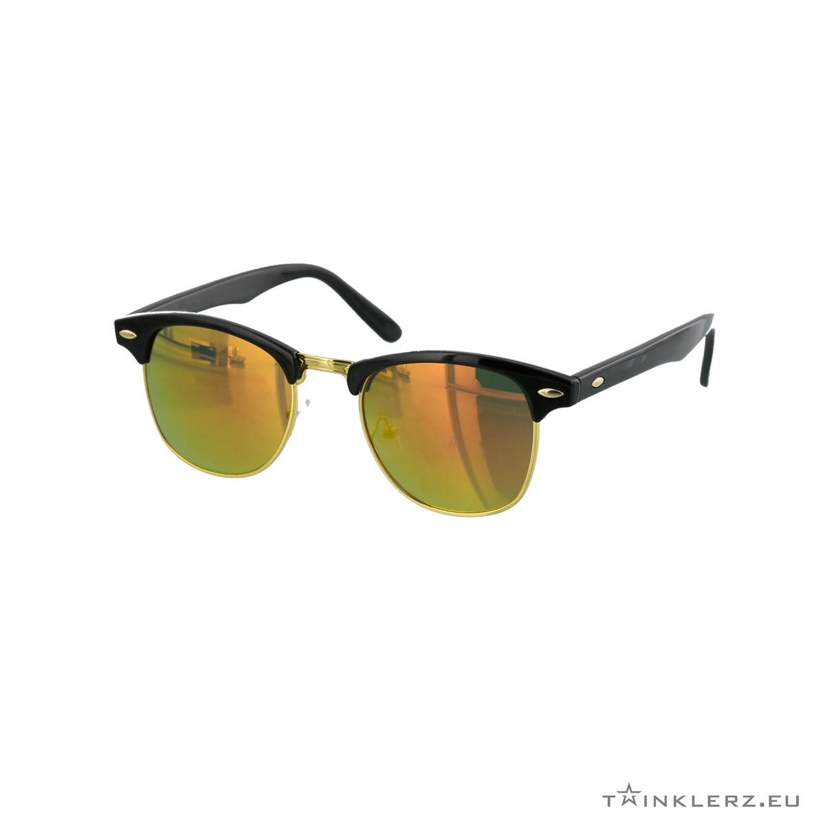 Clubmaster classic zonnebril zwart - rood, oranje spiegelglazen