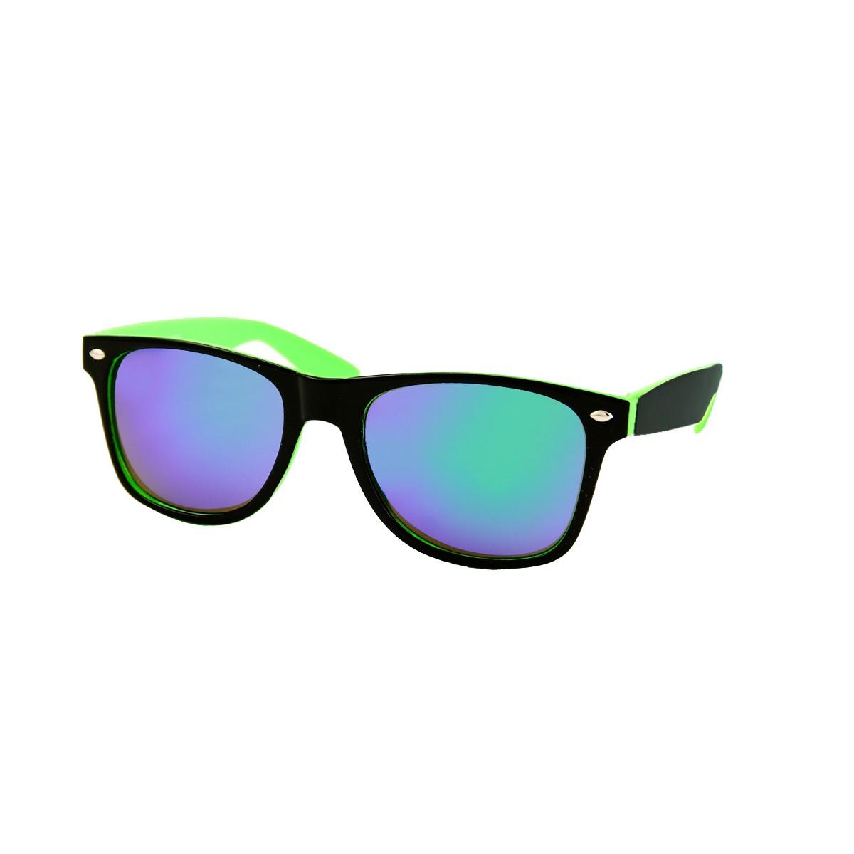 Two tone wayfarer zonnebril zwart groen - paars blauw spiegelglas