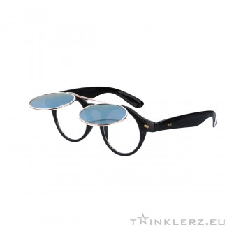 Retro zonnebril zwart met klepje en geel,groene spiegelglazen