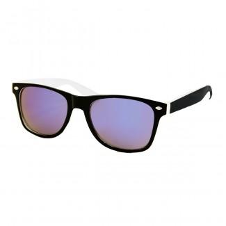 Two tone wayfarer zonnebril zwart wit - blauw paars spiegelglas