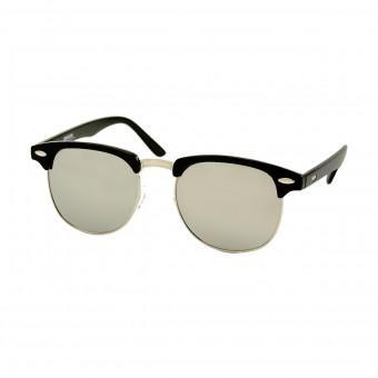 clubmaster zonnebril zwart - zilveren spiegelglazen