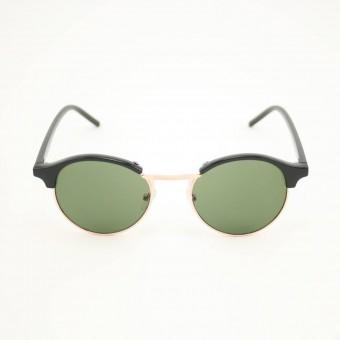 Clubround ronde zonnebril zwart - groen getinte glazen
