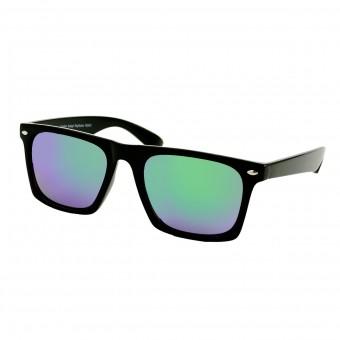 Flat top zonnebril groen blauw spiegel glas