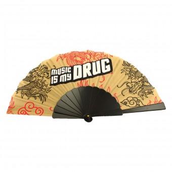 MUSIC IS MY DRUG Handwaaier Spaanse Waaier Goud