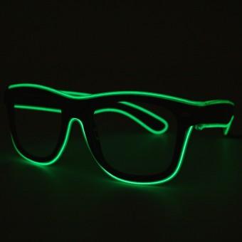 LED bril donkergroen doorzichtig glas