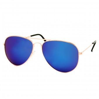 Piloten Zonnebril Goud - Blauw Paars Spiegel Glas