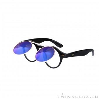 Retro zonnebril zwart met klepje en blauwe spiegelglazen