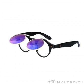 retro zonnebril zwart met klepje en paars groene spiegelglazen