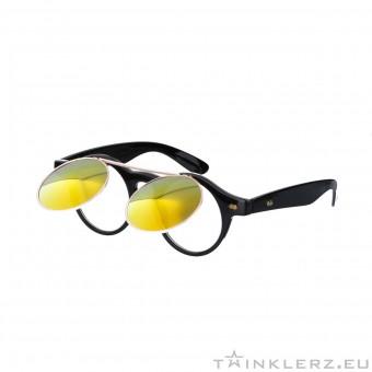 retro zonnebril zwart met klepje en rood oranje spiegelglazen