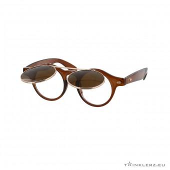 Retro zonnebril met klepje - transparant bruin