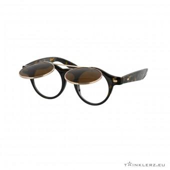 Retro zonnebril met klepje - turtle bruin