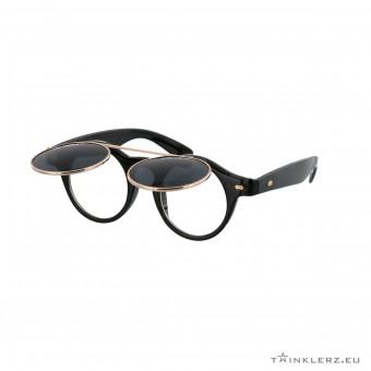 Retro zonnebril met klepje - zwart