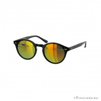 Retro zonnebril zwart - rood, oranje spiegelglazen