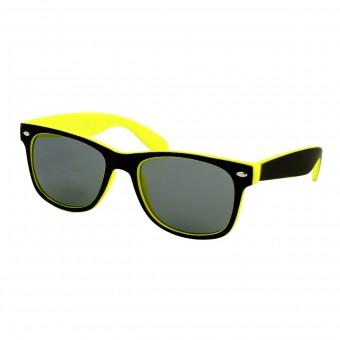 Two tone wayfarer zonnebril zwart geel - getint glas