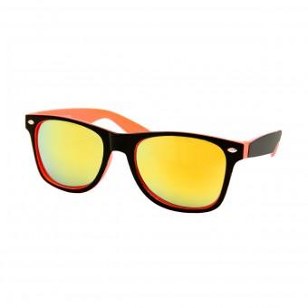 Two tone wayfarer zonnebril zwart oranje - goud spiegelglas