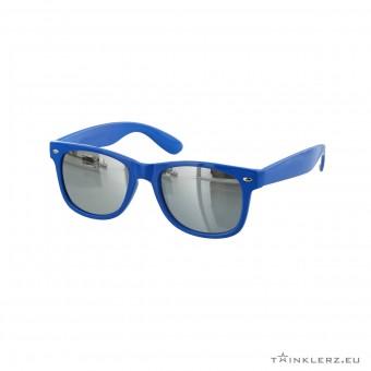 Wayfarer zonnebril blauw - zilveren spiegelglazen