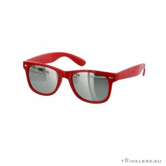 Wayfarer zonnebril rood - zilveren spiegelglazen