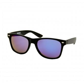 Wayfarer zonnebril zwart - blauw paars spiegelglas