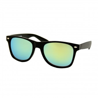 Wayfarer Zonnebril Zwart - Geel Groen Spiegelglas