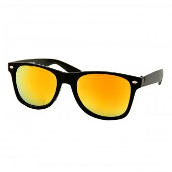 Wayfarer zonnebril zwart - rood oranje spiegelglas