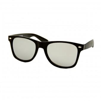 Wayfarer Zonnebril Zwart - Zilver Spiegelglas