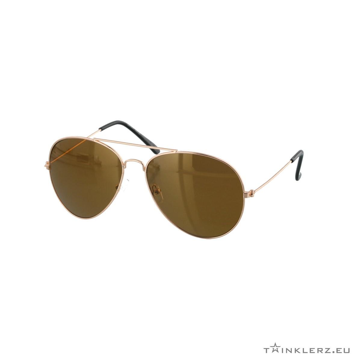 Brown gold aviator sunglasses