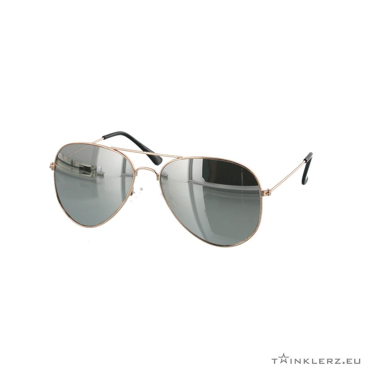 Silver gold mirrored silver aviator sunglasses