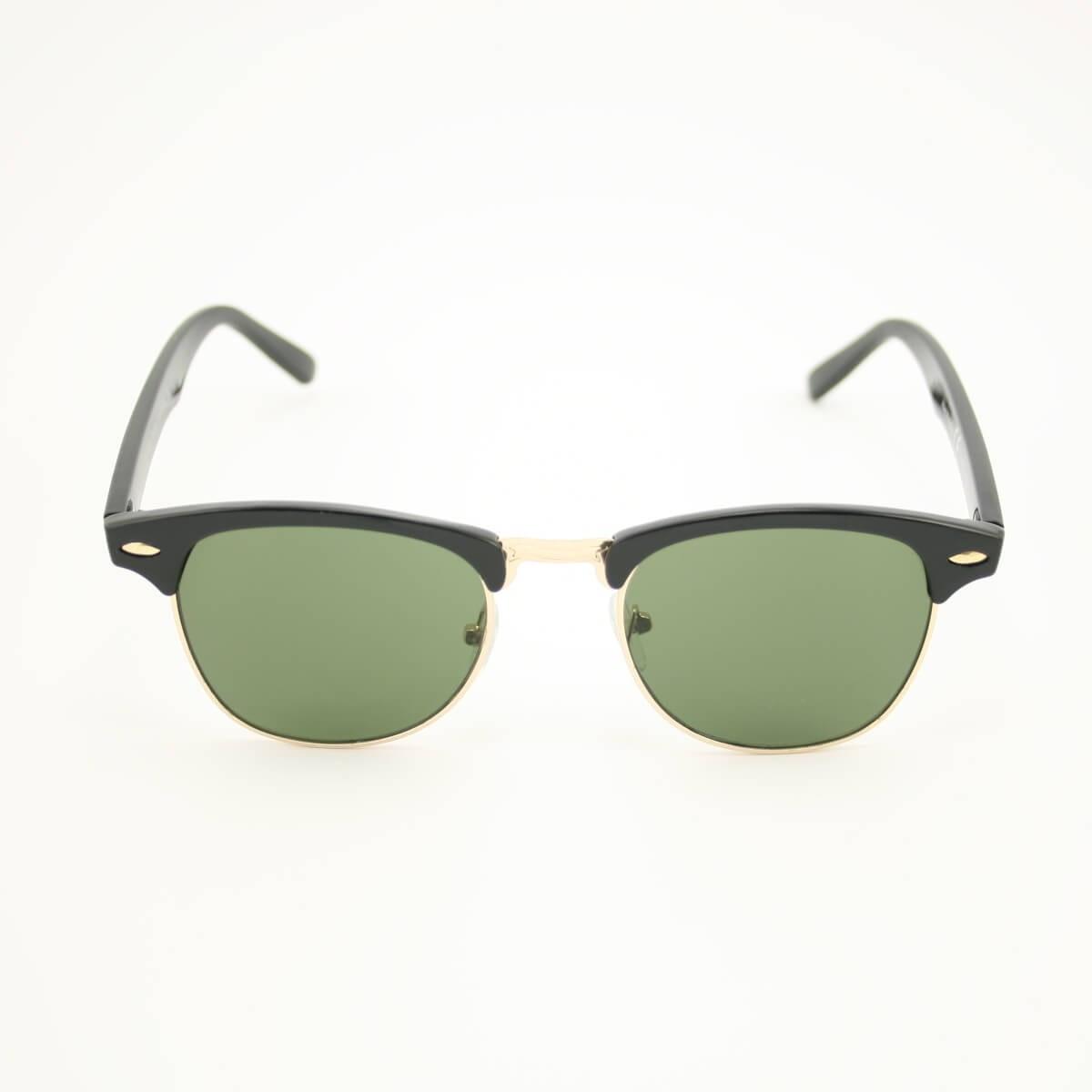Clubmaster classic zonnebril zwart - groen getinte glazen