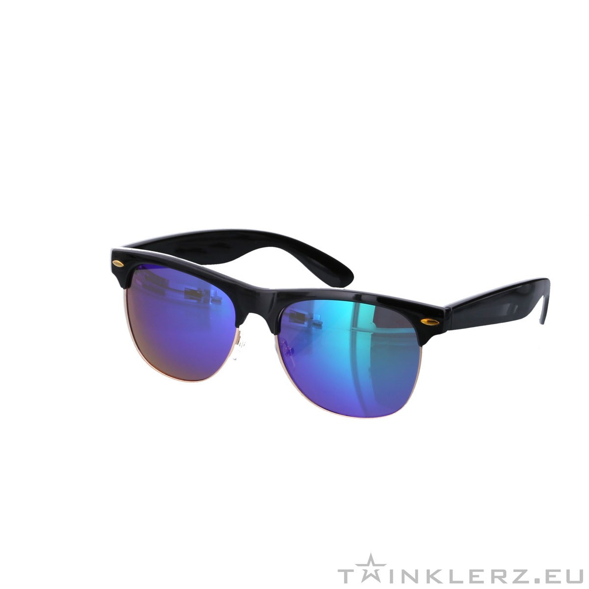 Clubmaster modern sunglasses - purple green mirror glass