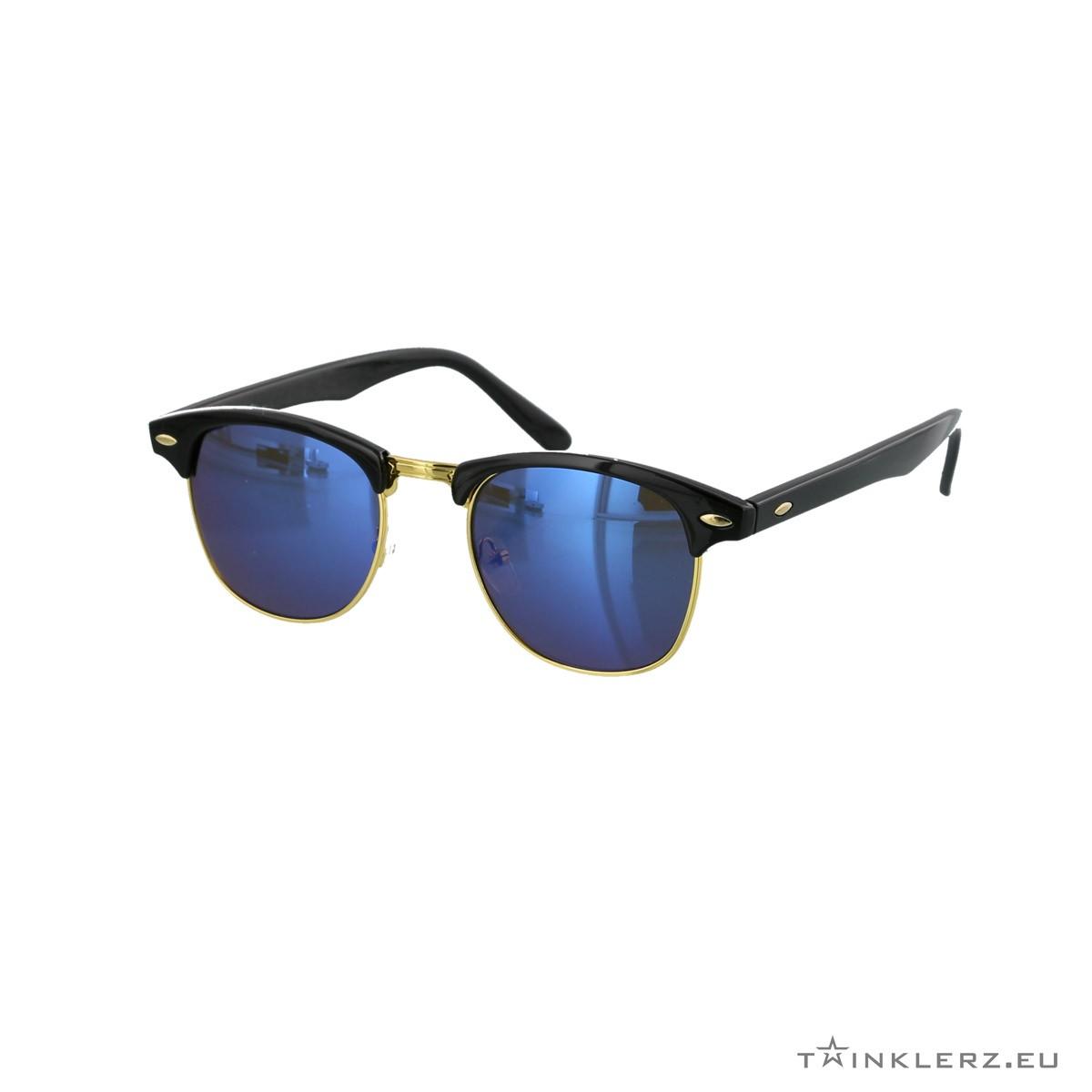 Black clubmaster classic sunglasses blue mirrored lenses
