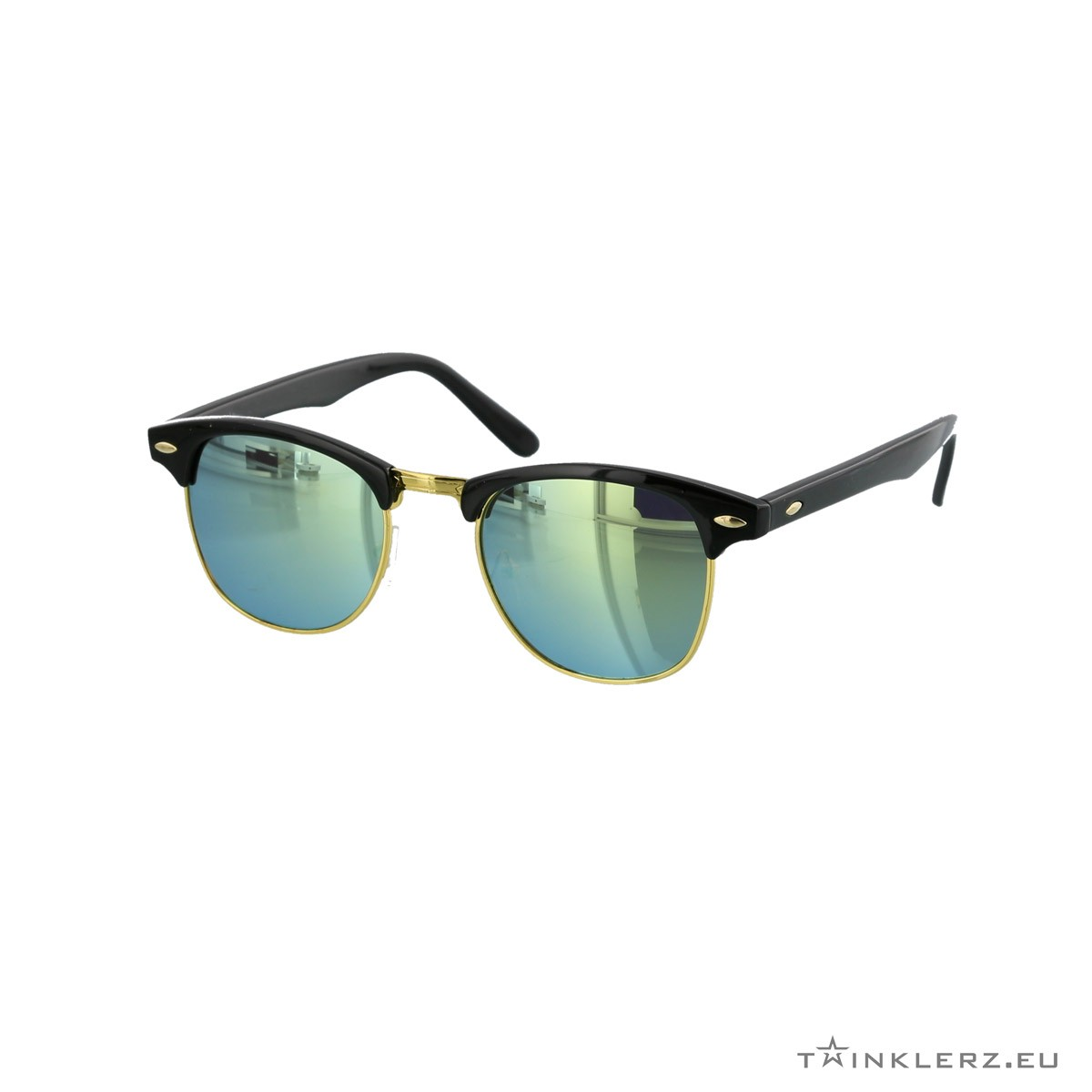 Black clubmaster classic sunglasses yellow green mirrored lenses