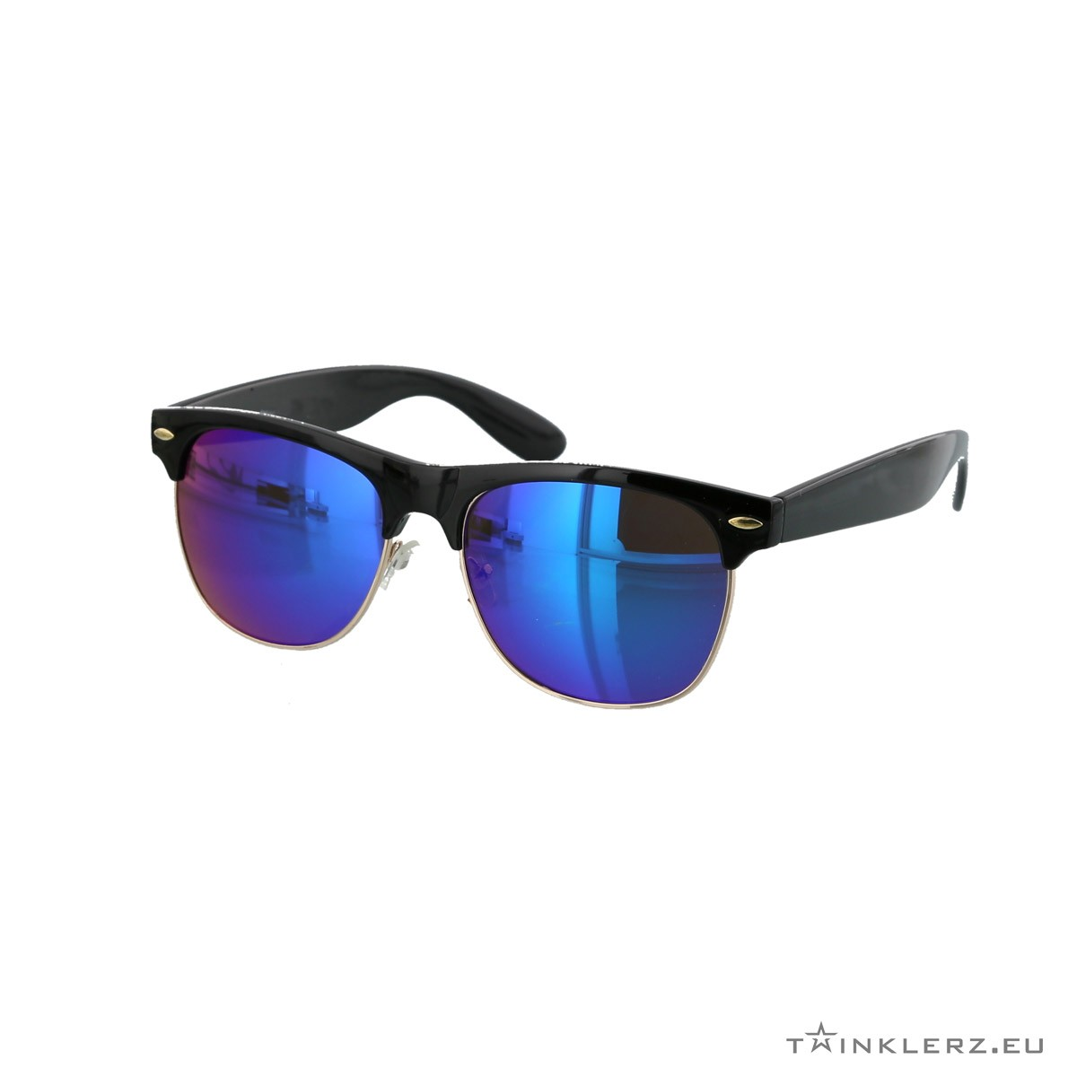Black clubmaster modern sunglasses blue mirrored lenses