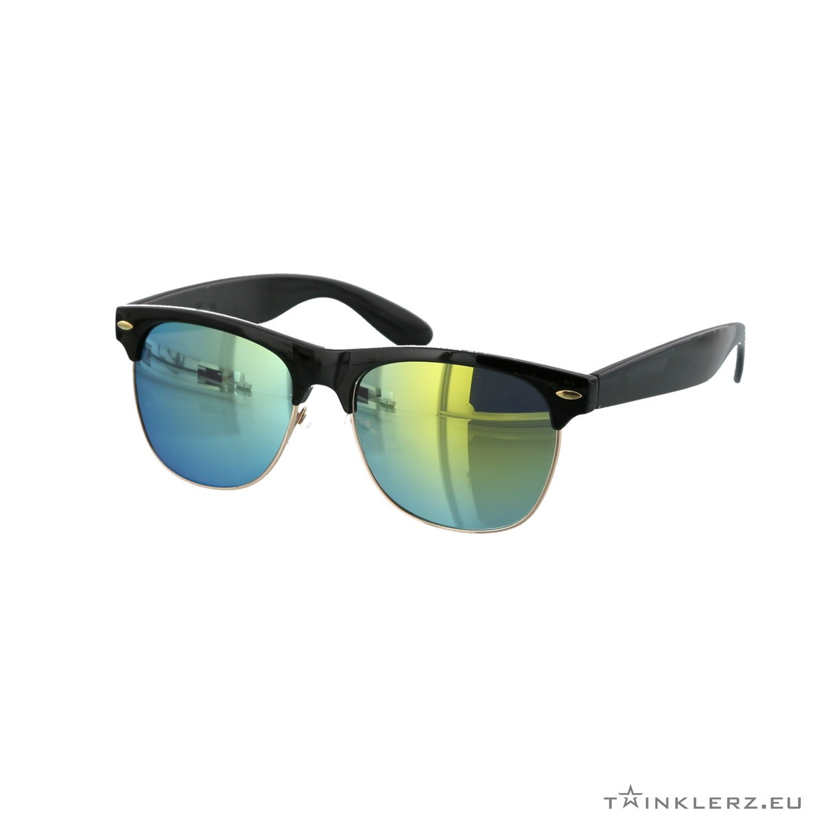 Black clubmaster modern sunglasses yellow green mirrored lenses