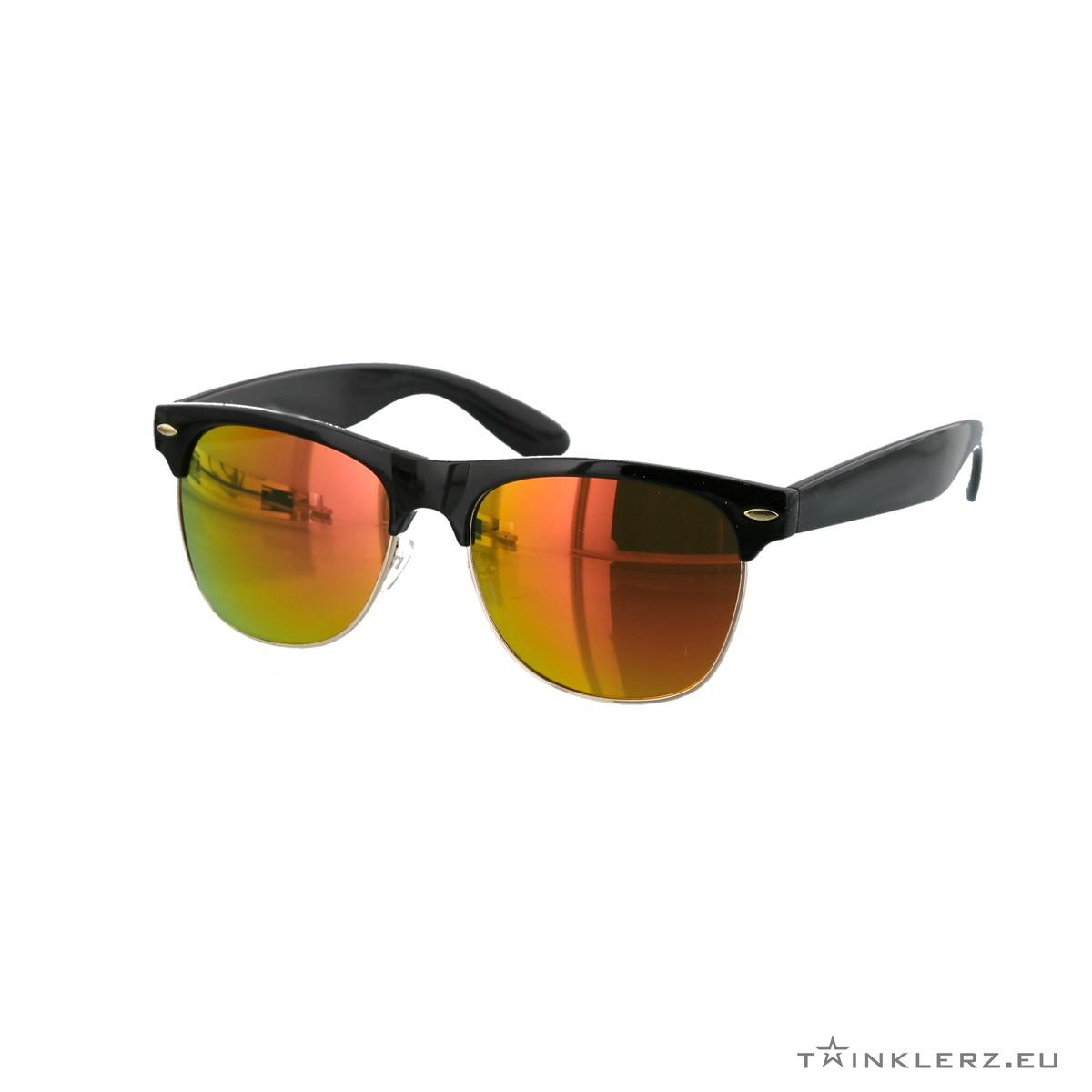 Black clubmaster modern sunglasses red orange mirrored lenses