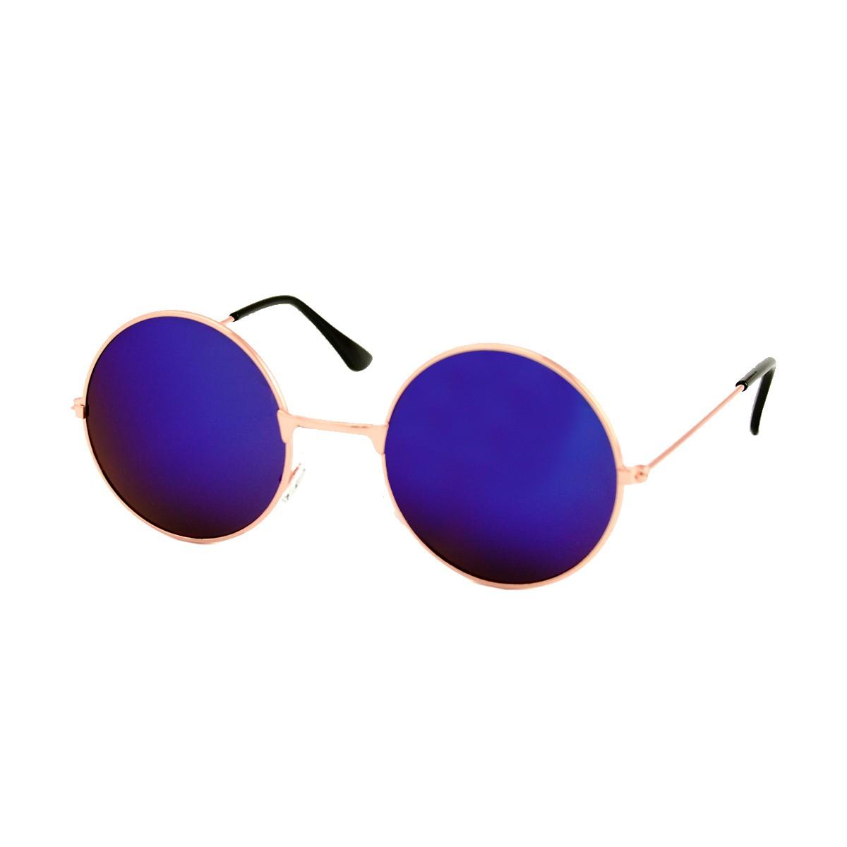 Round golden sunglasses - blue purple mirrored glass
