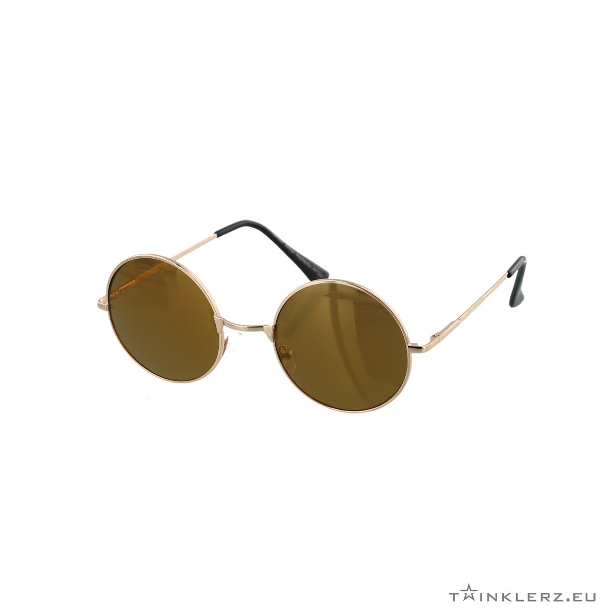 Round golden sunglasses brown lenses