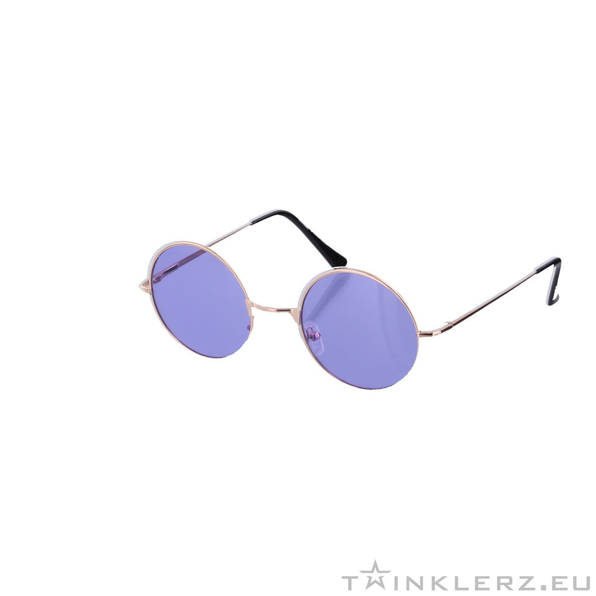5707c458719614 Small round golden sunglasses - purple colored glasses