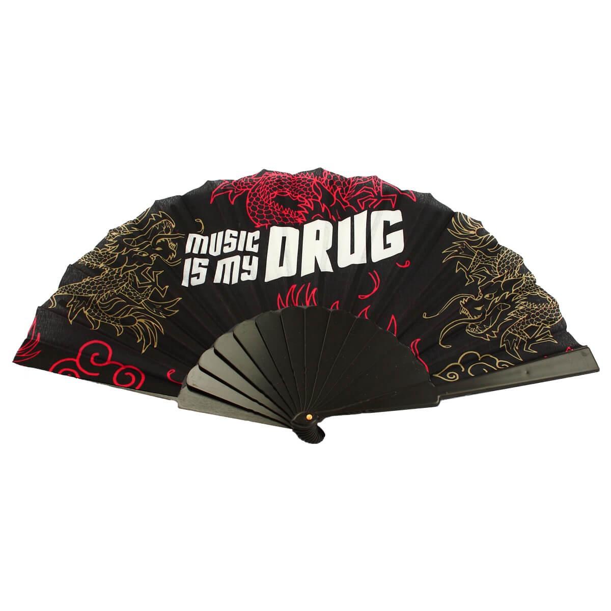 MUSIC IS MY DRUG Handwaaier Spaanse Waaier Zwart