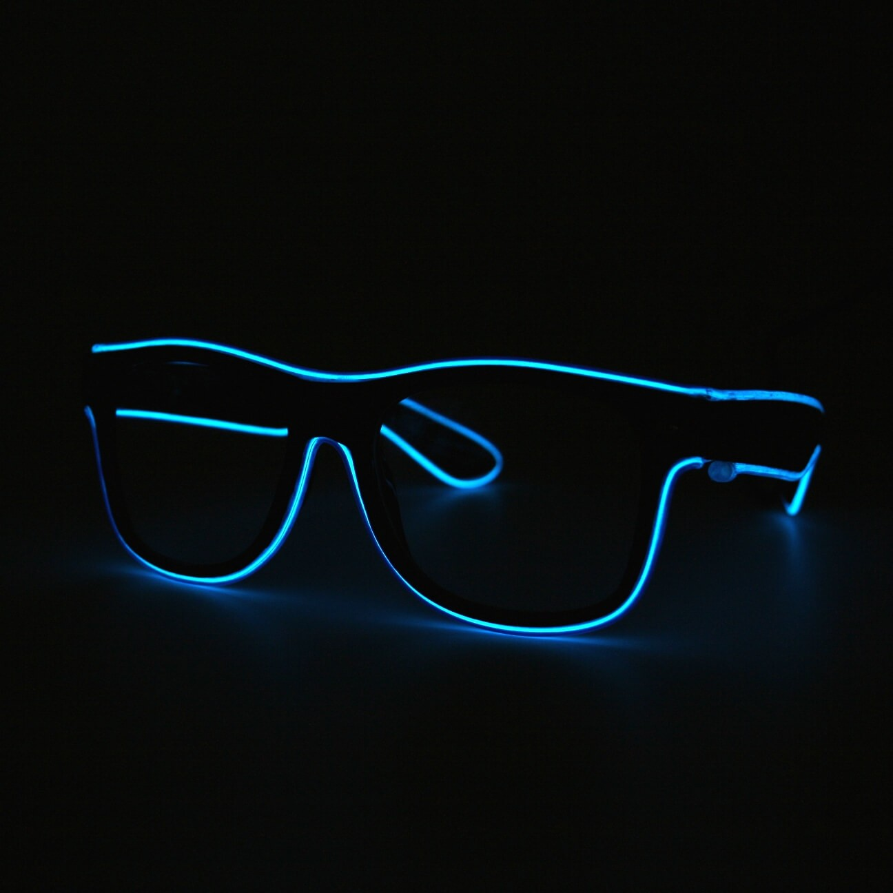 LED Neon Glasses Blue Transparent Glasses