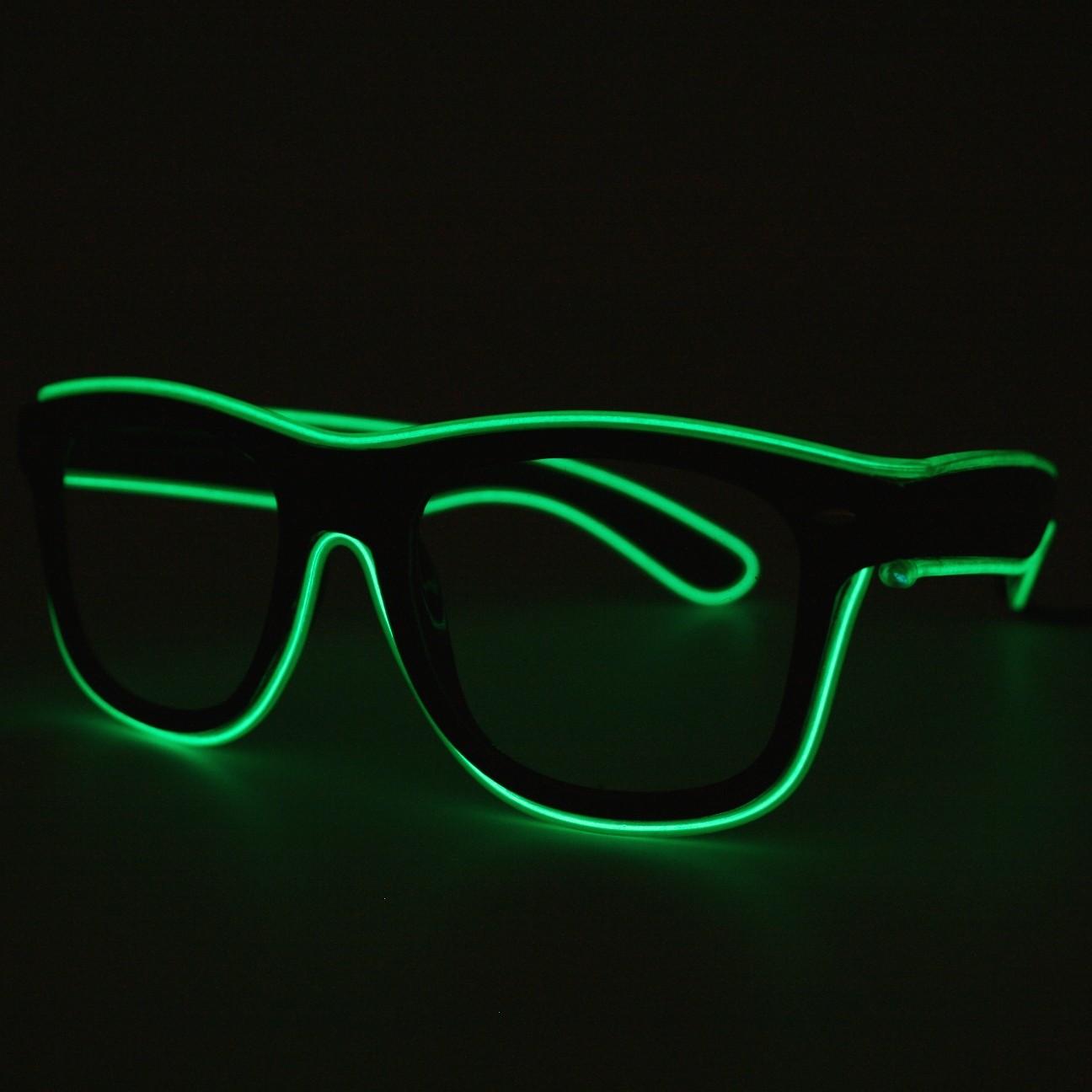 LED Neon Glasses Green Transparent Glasses