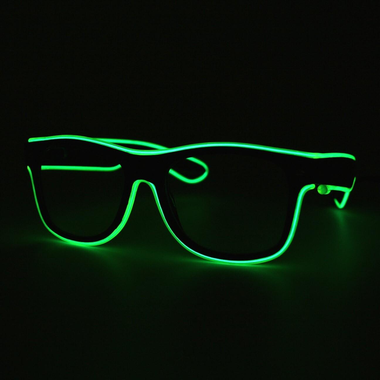 LED Neon Glasses Light Green Transparent Glasses
