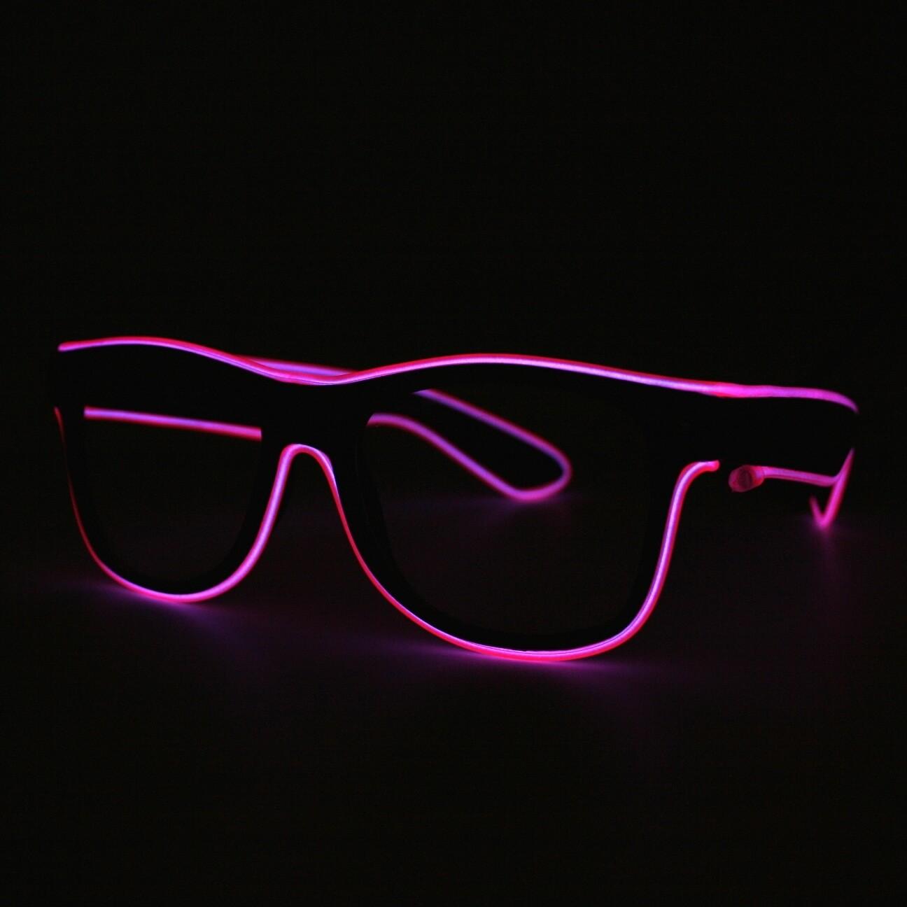 LED Neon Glasses Pink Transparent Glasses