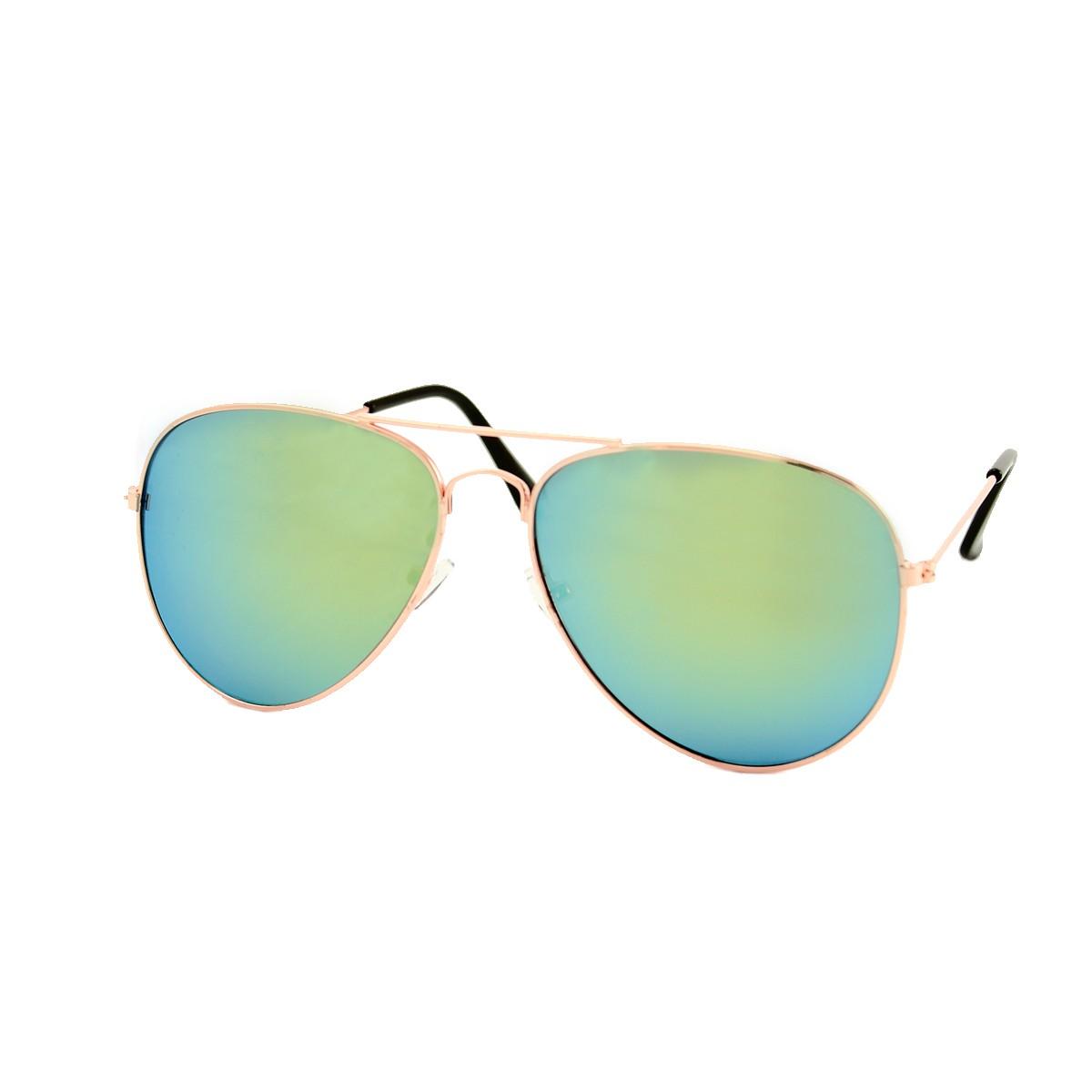 yellow green mirrored gold aviator sunglasses