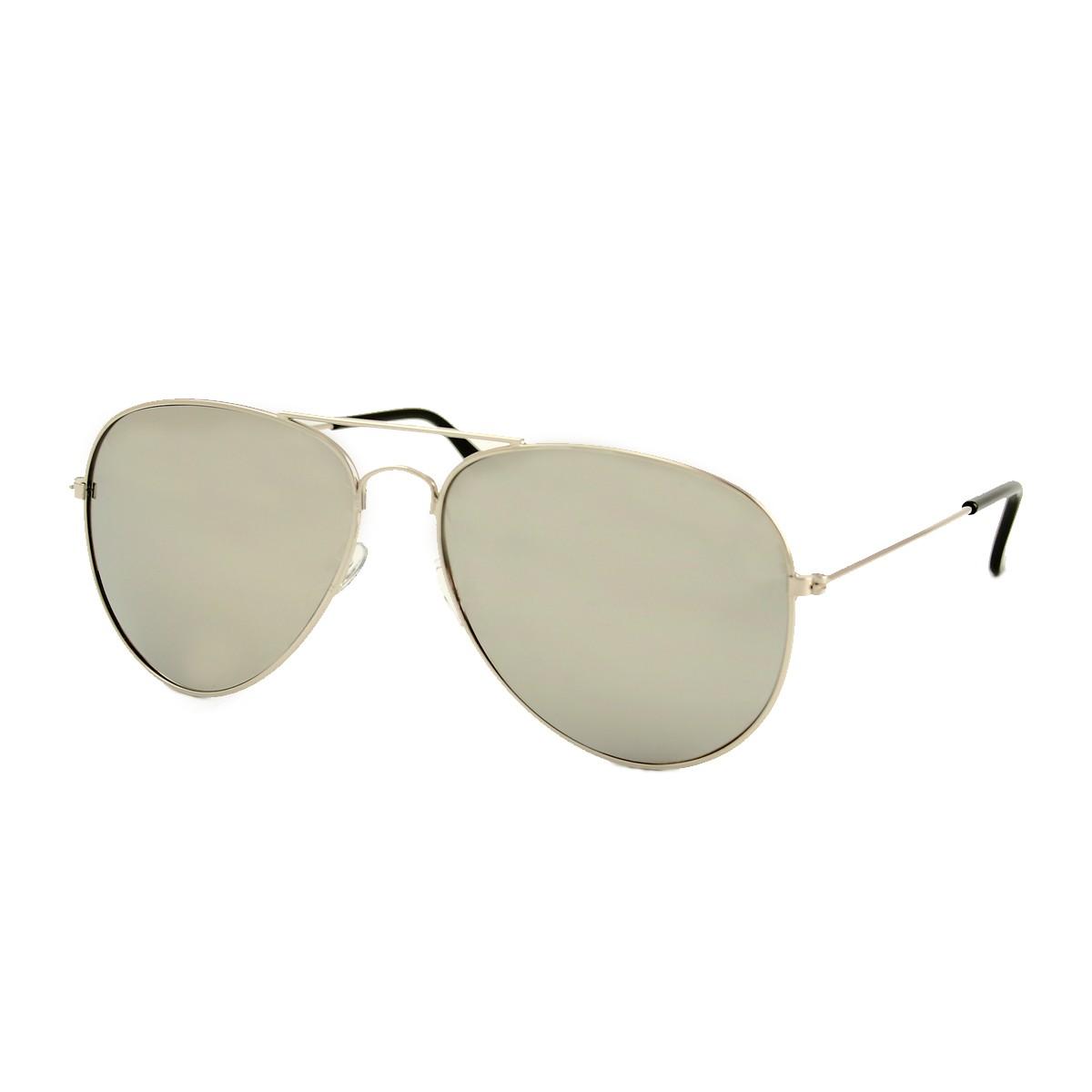 Silver aviator sunglasses - silver mirrored glass
