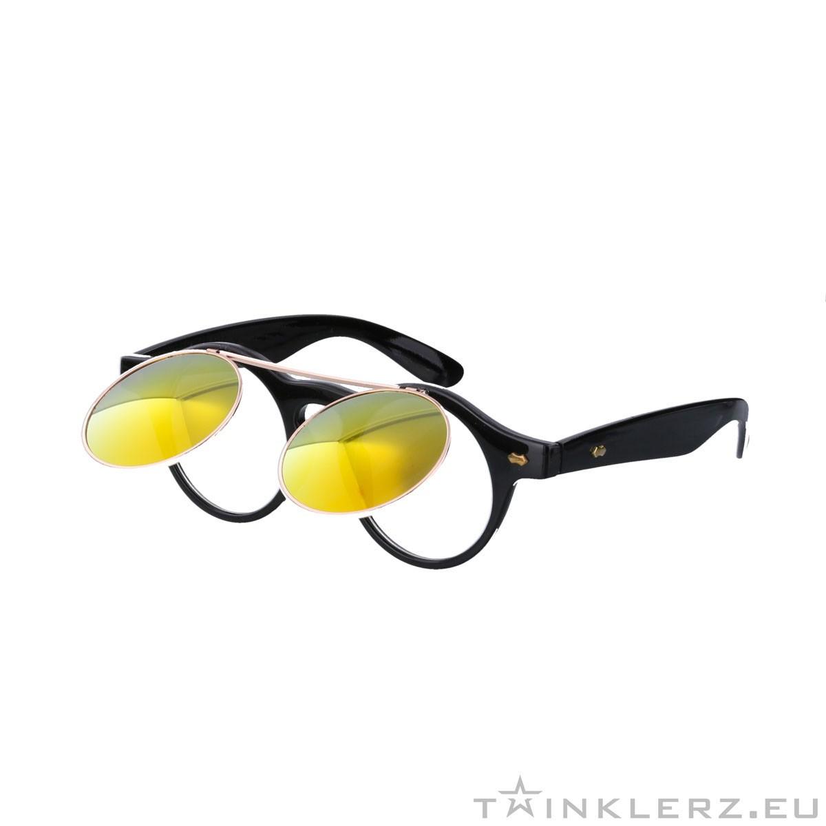 Black retro sunglasses -  flip and red orange mirror glass