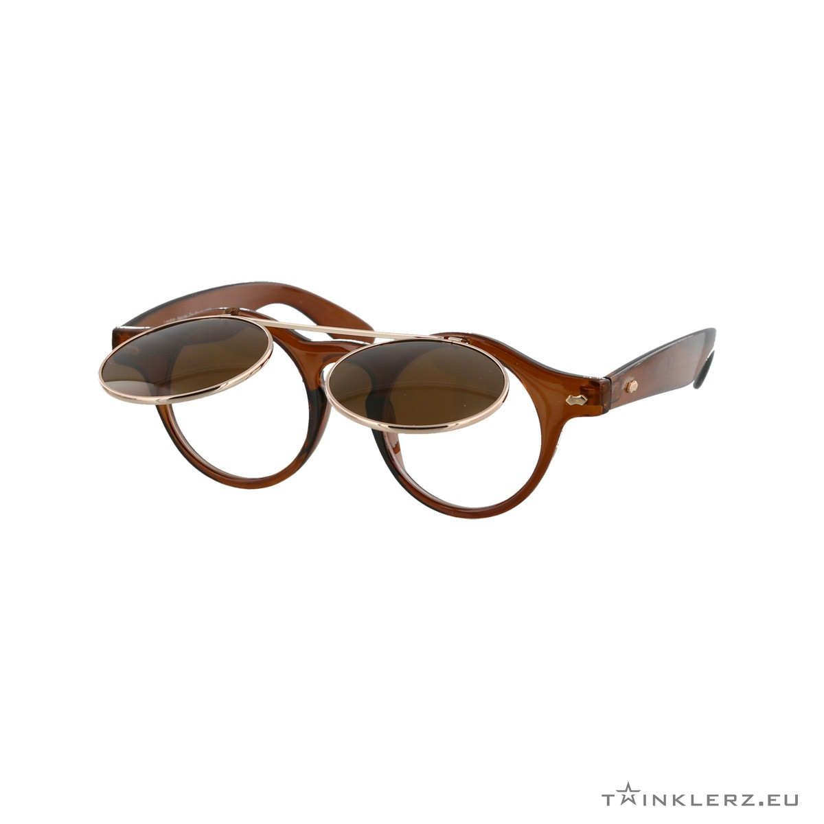 Transparant brown retro sunglasses with flaps