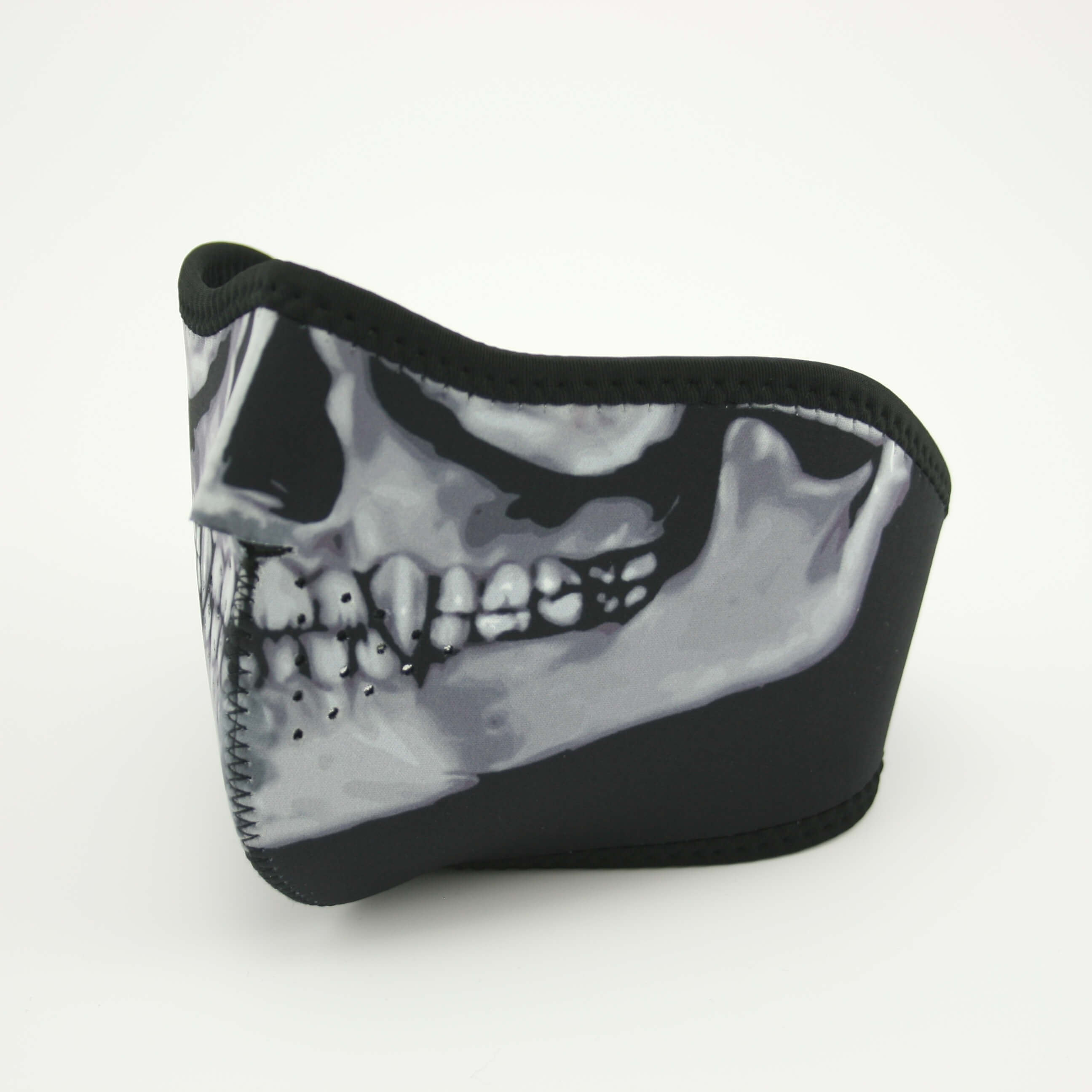 Skull mouth mask half grey black side
