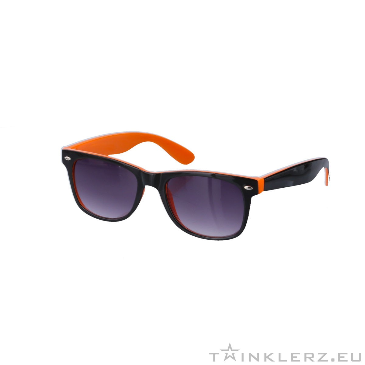 Two tone wayfarer sunglasses black orange - tinted glasses