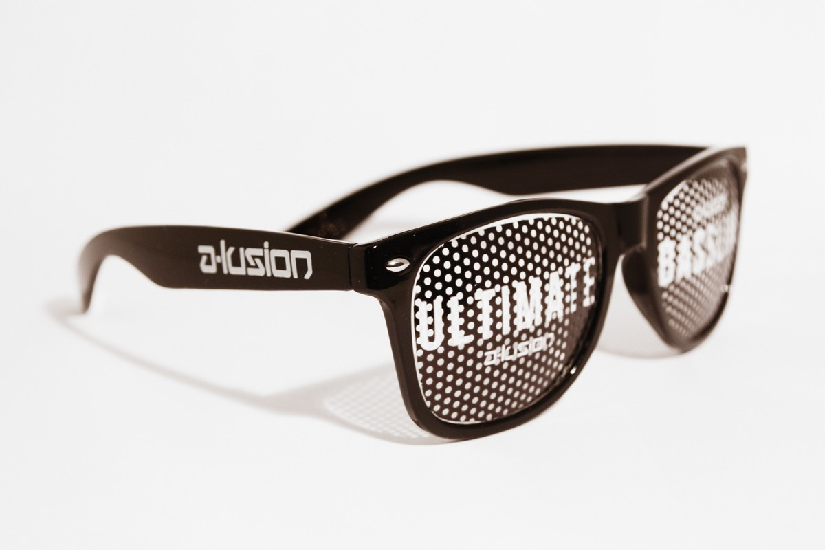 A-lusion pinhole sticker glasses black with black print - Ultimate Bassline