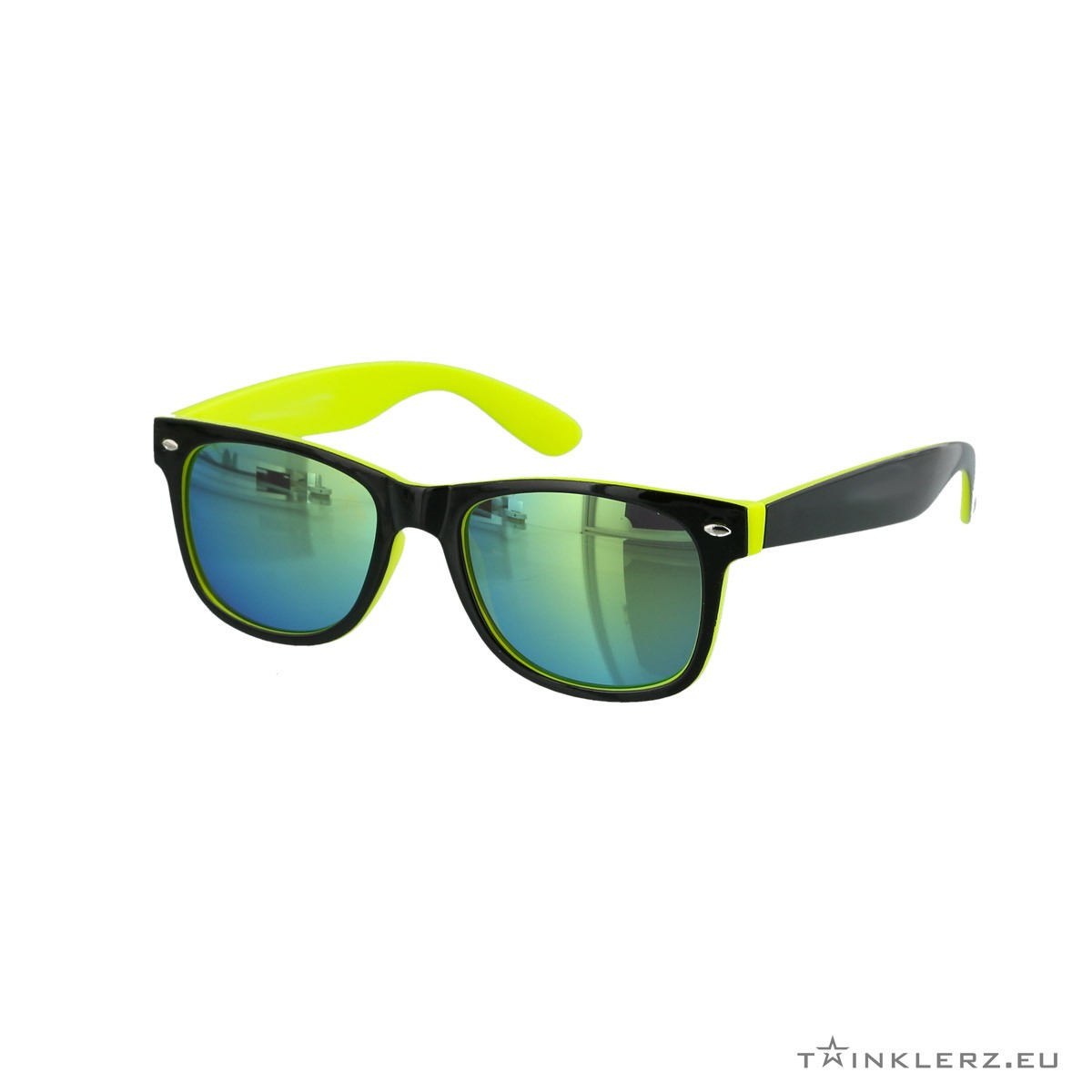 Two tone wayfarer sunglasses black, yellow - blue, green mirror glasses